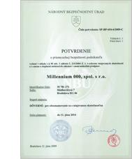 NBÚ osvedčenie pre Millennium